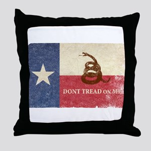 Texas and Gadsden Flag Throw Pillow