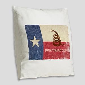 Texas and Gadsden Flag Burlap Throw Pillow