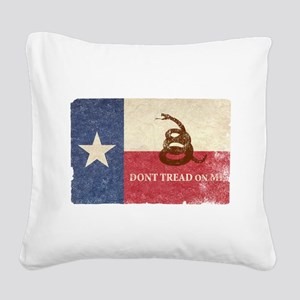 Texas and Gadsden Flag Square Canvas Pillow