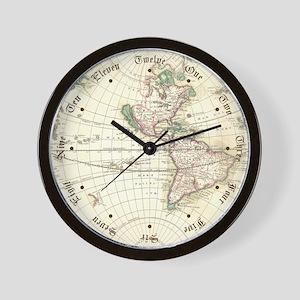 New World Antique Map Wall Clock