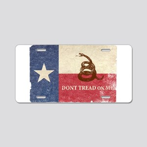Texas and Gadsden Flag Aluminum License Plate