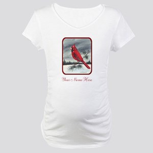 Cardinal on Pine Maternity T-Shirt