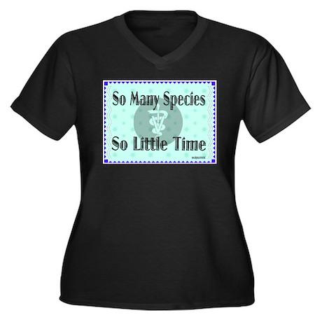 So Many Species Women's Plus Size V-Neck Dark T-Sh