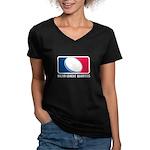 Major League Quarters Women's V-Neck Dark T-Shirt