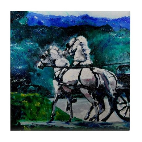 Driving Horses Tile Coaster