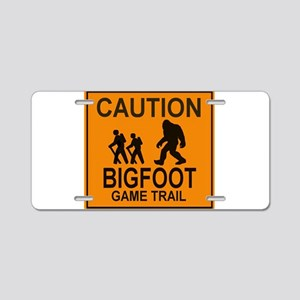 Caution! Bigfoot Aluminum License Plate