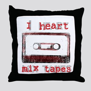 I Heart Mix Tapes Throw Pillow