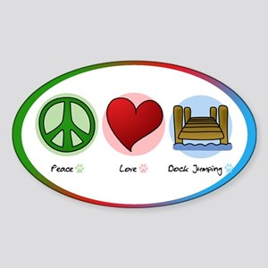 Peace Love Dock Jumping Oval Sticker