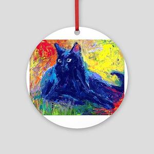 Black Cat 6 Ornament (Round)