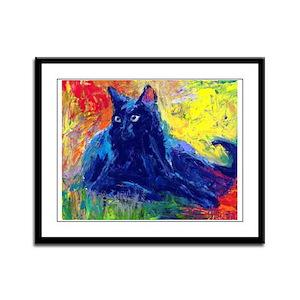 Black Cat 6 Framed Panel Print