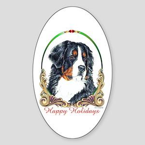 Bernese Mountain Dog Holiday Oval Sticker
