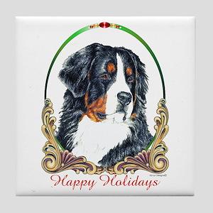 Bernese Mountain Dog Happy Holidays Tile Coaster