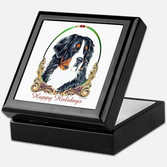 Bernese Mountain Dog Happy Holidays Keepsake Box