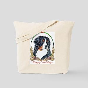 Bernese Mountain Dog Happy Holidays Tote Bag