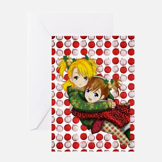 Anime Holiday Hug Greeting Card
