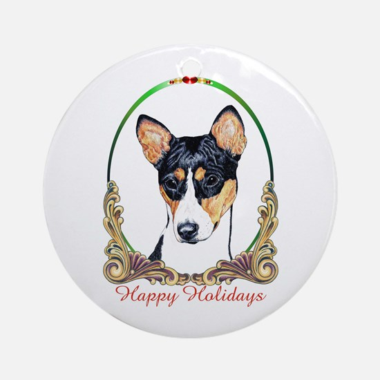 Basenji Breed Happy Holidays Ornament (Round)