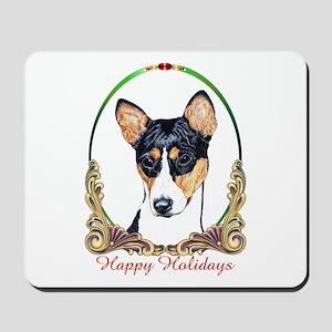 Basenji Dog Happy Holidays Mousepad