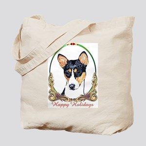 Basenji Happy Holidays Tote Bag