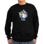 Kitty Kind Blue Eyes Snowshoe Cat Sweatshirt (dark