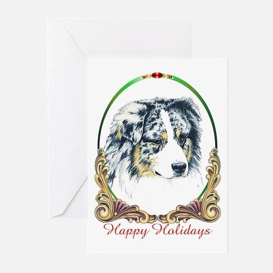 Merle Aussie Shepherd Holiday Greeting Cards (Pack