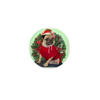 Santa Pug Mini Button