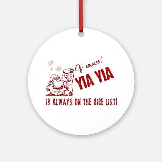 Nice List Yia Yia Ornament (Round)