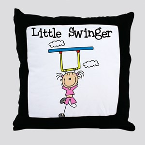 Little Swinger (girl) Throw Pillow