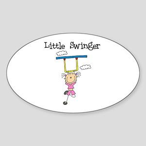 Little Swinger (girl) Oval Sticker