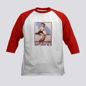 Cowgirl Don't Fence Me In Kids Baseball Jersey