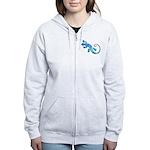 Malachite Blue Gecko Women's Zip Hoodie