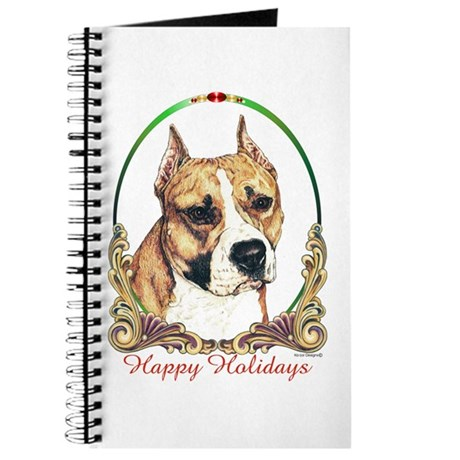 Am Staff Terrier Happy Holidays Journal