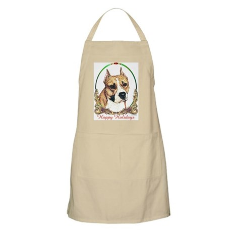 Am Staff Happy Holidays BBQ/Grooming Apron