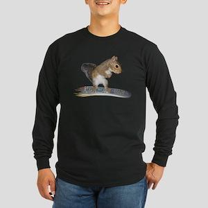 Surfer Squirrel Long Sleeve Dark T-Shirt