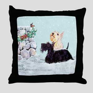 Scotties and Wren Winter Throw Pillow