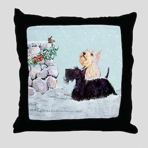 Scotties and Wren Winter Throw Pillow