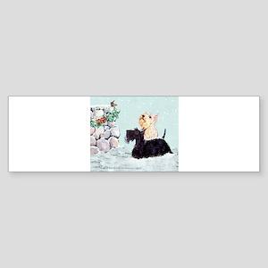 Scotties and Wren Winter Sticker (Bumper)