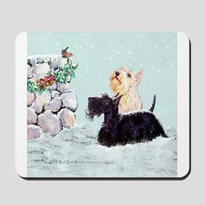 Scotties and Wren Winter Mousepad