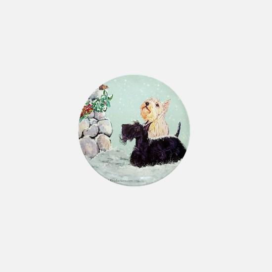 Scotties and Wren Winter Mini Button