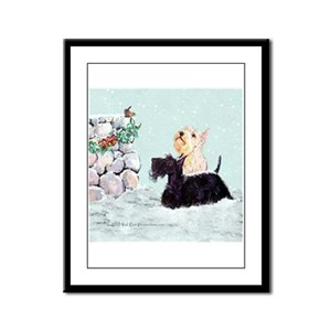 Scotties and Wren Winter Framed Panel Print