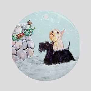 Scotties and Wren Winter Ornament (Round)