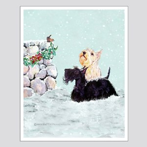 Scotties and Wren Winter Small Poster