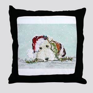 Fox Terrier Christmas Throw Pillow