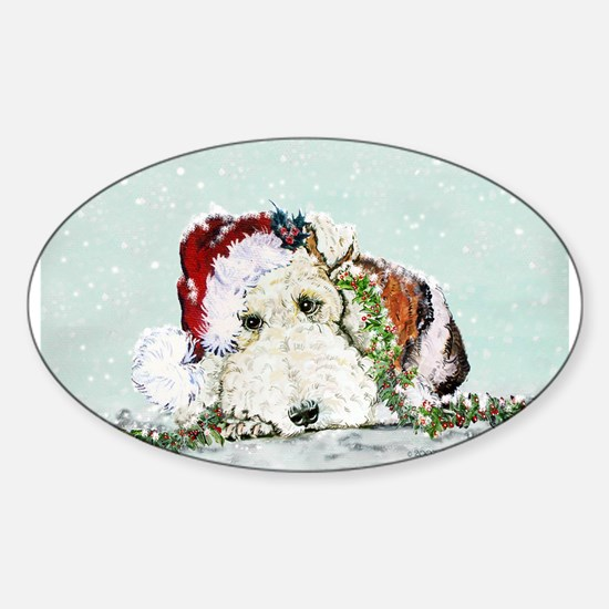 Fox Terrier Christmas Oval Decal