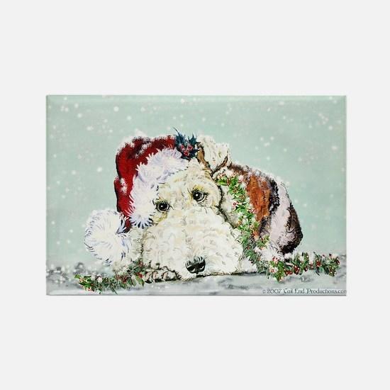 Fox Terrier Christmas Rectangle Magnet (10 pack)
