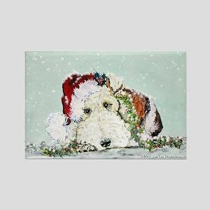 Fox Terrier Christmas Rectangle Magnet