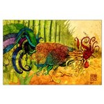 Large tattoo style Rooster Poster Richmond Art