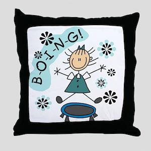Girl on Trampoline Throw Pillow