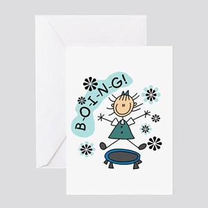 Girl on Trampoline Greeting Card