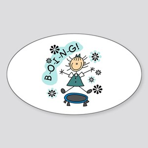 Girl on Trampoline Oval Sticker