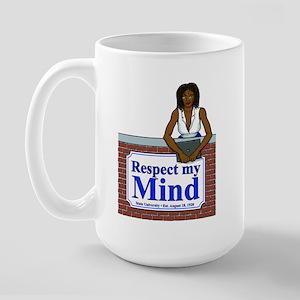 Black Respect My Mind Large Mug